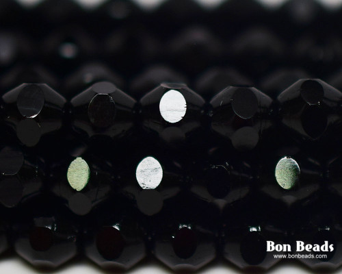 6mm Black Cut Fire Polished Bicones (300 Pieces)