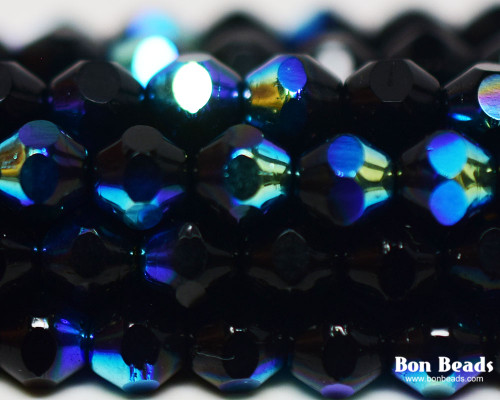 6mm Black AB Cut Fire Polished Bicones (300 Pieces)