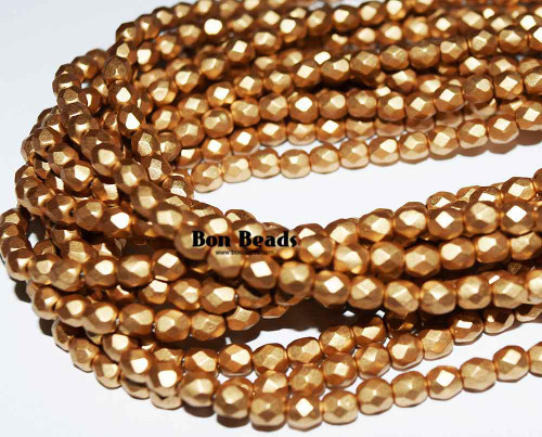 4mm Aztec Gold Round Fire Polished (600 Pieces)