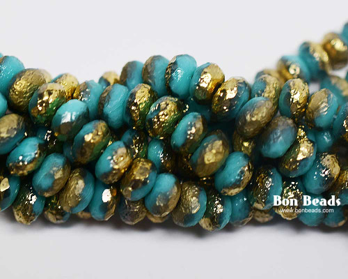 4x7mm Green Turquoise Gold Etched Rondelles (300 Pieces)