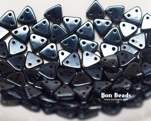 6mm 2 Hole Triangles Gunmetal (50 Grams)