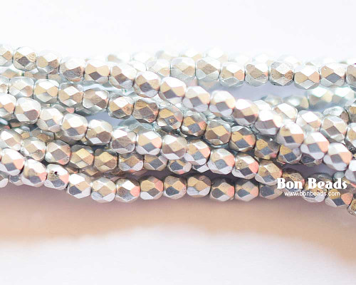 3mm Silky Silver Round Fire Polished (600 Pieces)