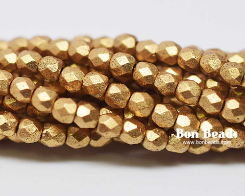 3mm Aztec Gold Round Fire Polished (600 Pieces)