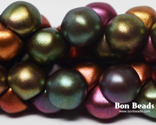 9x8mm Metallic Iris Mix Wide Cap Mushroom Buttons (150 Pieces)