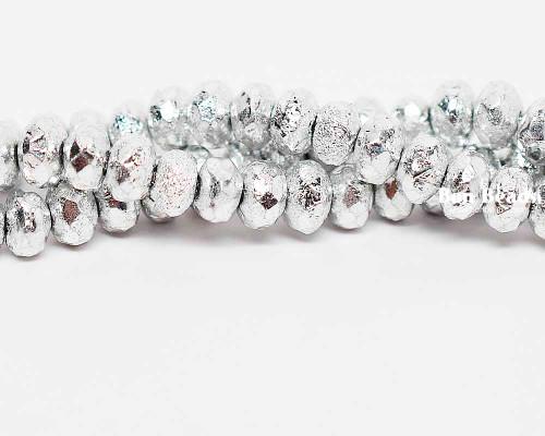 4x7mm Silver Ore Etched Rondelles (300 Pieces)