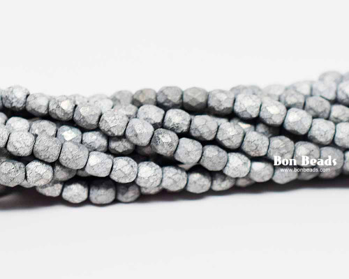 4mm Matted Grey Etched Round Fire Polished (600 Pieces)