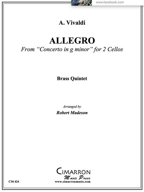 "Allegro from ""Concerto in G Minor"" Brass Quintet (Vivaldi/arr. Madesen) PDF Download"