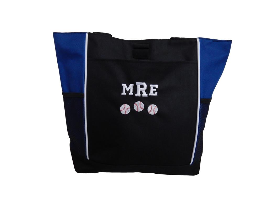 Baseball Softball Sports Team Monogrammed Custom Personalized ROYAL BLUE Tote Bag Font Style VARSITY
