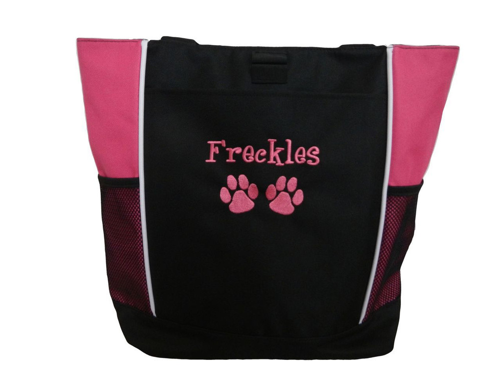 Paw Prints Vet Tech Dog Day Care Groomer Walker Pet Sitting Custom Embroidered HOT PINK Tote Bag Font Style Girlz