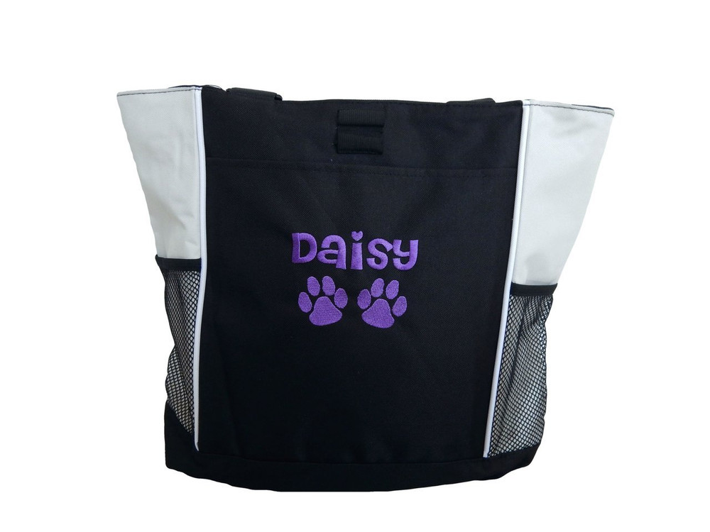Paw Prints Vet Tech Veterinary Assistant Dog Groomer Walker Pet Sitting Custom Embroidered STONE Purple Tote Bag Font Style Cheri
