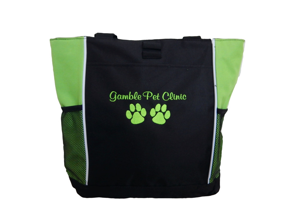 Paw Prints Vet Tech Veterinary Assistant Pet Clinic Dog Tiger Custom Embroidered LIME GREEN Tote Bag Font Style Casual Script