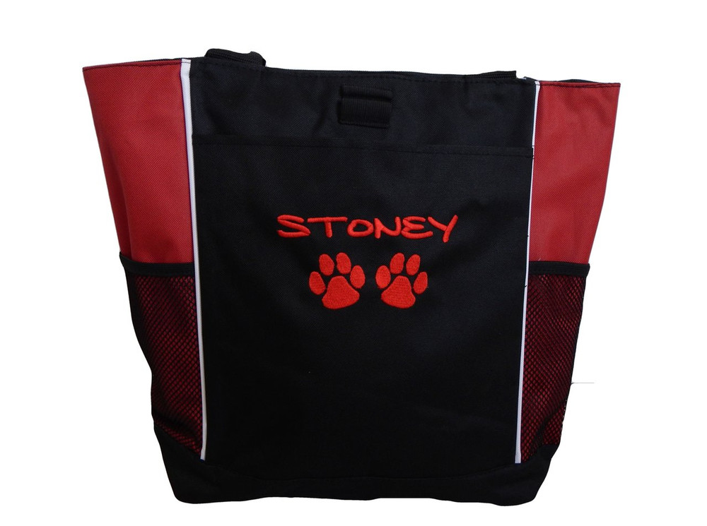 Paw Prints Vet Tech VT Dog Stuff Monogrammed Custom Embroidered RED Tote Bag Font Style MARKER CAP