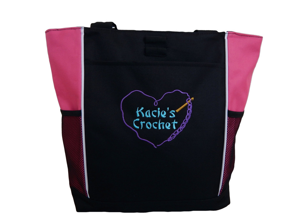 Crochet Heart Chain Stitch Hook Knitting Needlepoint Embroidery Crafts Custom Monogrammed Personalized HOT PINK PURPLE  AQUA Tote Bag Font Style BAMBOO