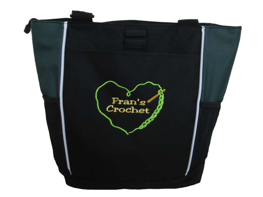 Crochet Heart Chain Stitch Hook Knitting Needlepoint Embroidery Crafts Custom Monogrammed Personalized HUNTER GREEN Tote Bag Font Style JESTER