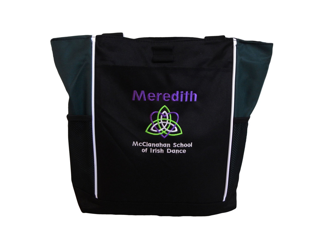 Celtic Trinity Heart Ireland HUNTER GREEN Purple White Lime Green Custom Personalized Zippered Tote Bag Font Style GEOMETRIC