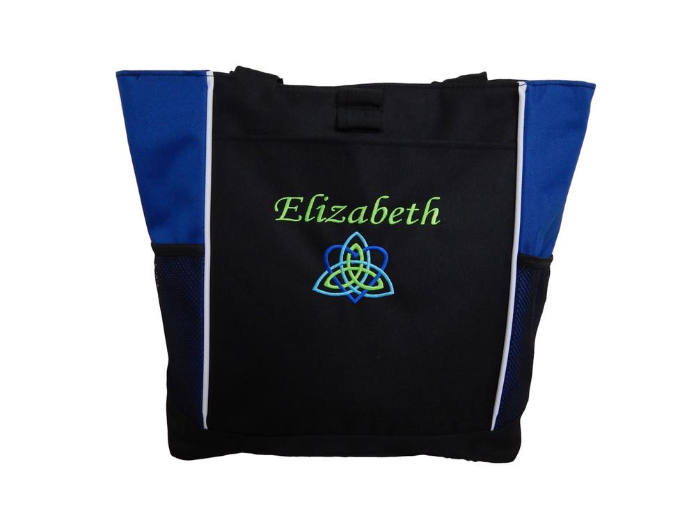 Celtic Trinity Heart Ireland ROYAL BLUE Aqua Lime Green Custom Personalized Zippered Tote Bag Font Style CALLIGRAPHY