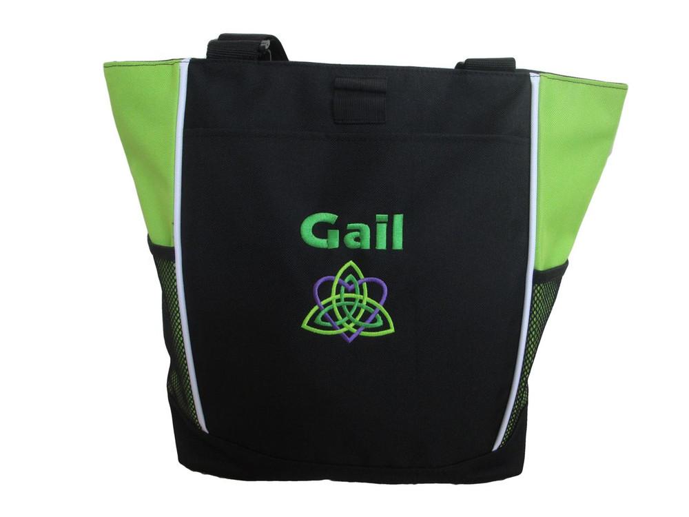 Celtic Trinity Heart Irish Ireland LIME Purple Kelly Green Custom Personalized Zippered Tote Bag Font Style GEOMETRIC