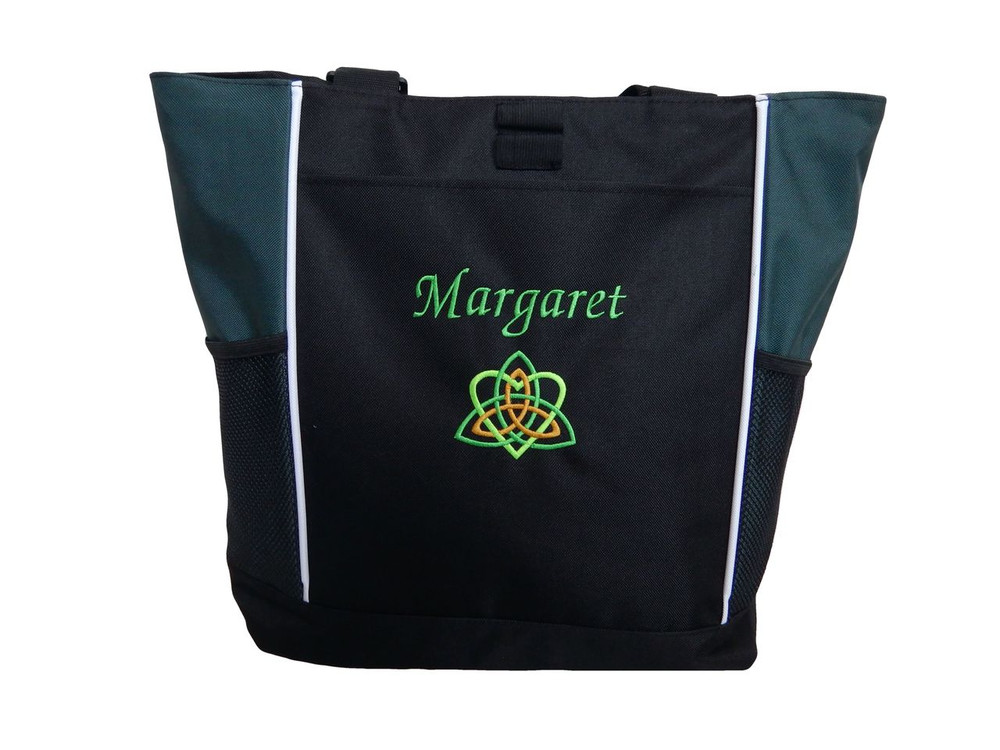 Celtic Trinity Heart Irish Ireland HUNTER GREEN Lime Kelly Gold Custom Personalized Zippered Tote Bag Font Style MONO CORSIVA