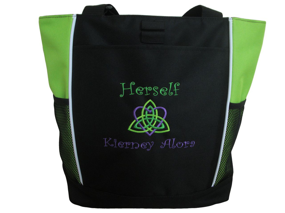 Celtic Trinity Heart Ireland LIME Purple Kelly Custom Personalized Zippered Tote Bag Font Style CURLZ