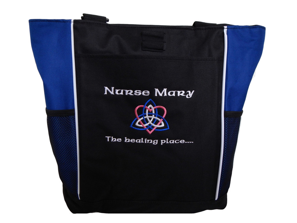 Celtic Trinity Heart Nurse Healing ROYAL BLUE Hot Pink White Custom Personalized Zippered Tote Bag Font Style CALLIGRAPHY