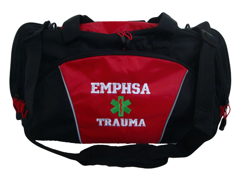 Star of Life RED DUFFEL Trauma First Responder EMT EMS Paramedic Medic RN Emergency Hospital Font Style VARSITY