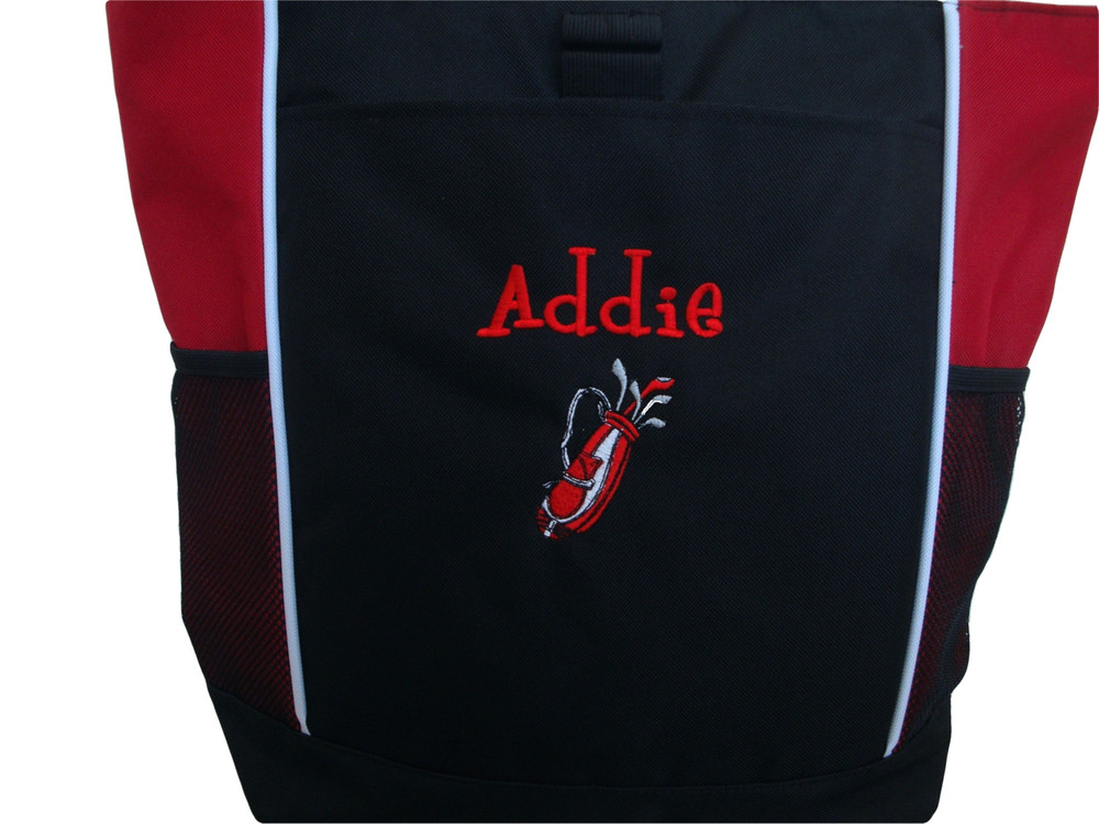 Golf Golfing Golfer Clubs REDTote Bag Personalized Embroidered Zippered Tote Bag FONT style GIRLZ