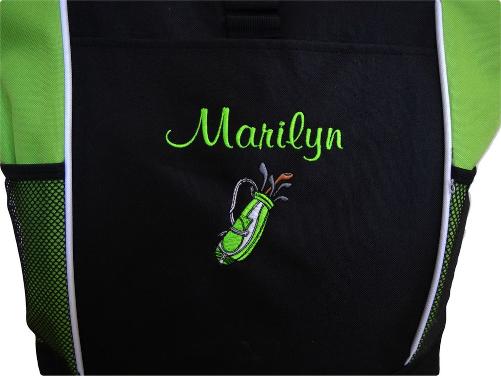 Golf Golfing Golfer Clubs LIME GREEN Tote Bag Personalized Embroidered Zippered Tote Bag FONT style CASUAL SCRIPT