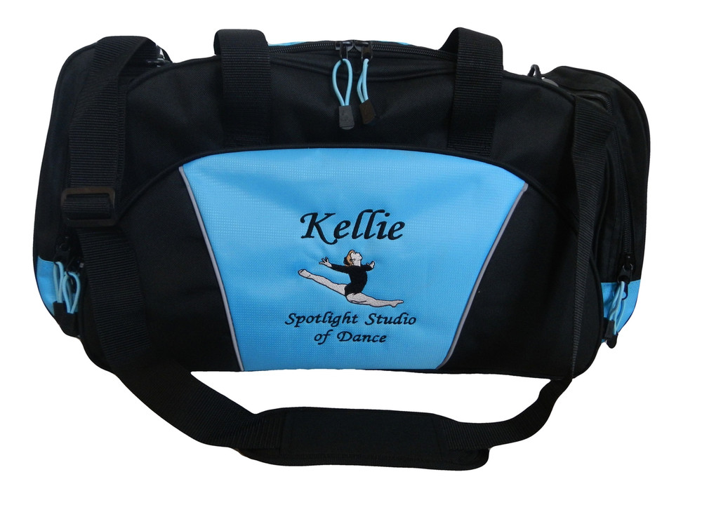 Gymnast Gymnastics Leaping Dance Personalized Embroidered LIGHT BLUE DUFFEL Font Style MONO CORSIVA