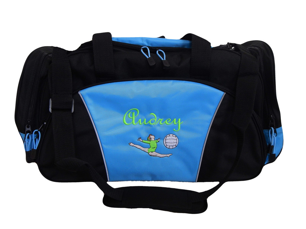 Gymnast Gymnastics Leaping Dance Volleyball Personalized Embroidered LIGHT BLUE DUFFEL Font Style CASUAL SCRIPT