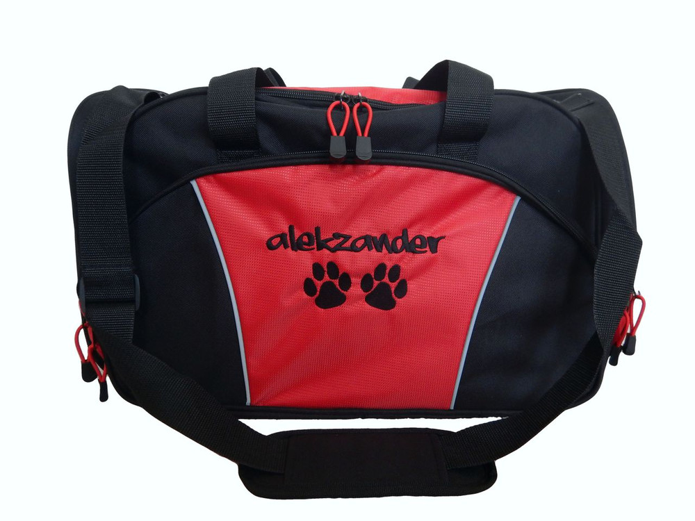 Paw Prints Vet Tech Personalized Embroidered RED DUFFEL Font Style GRAFITTI