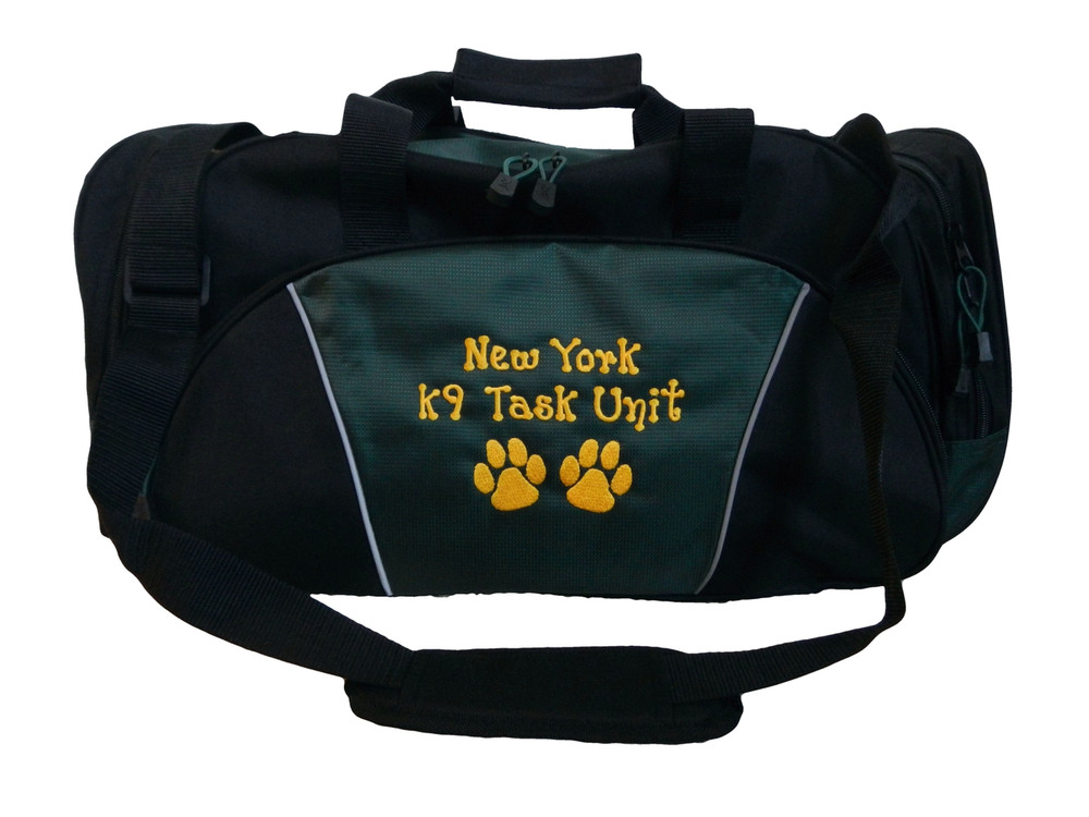 Paw Prints Vet Tech Personalized Embroidered HUNTER GREEN DUFFEL Font Style DOTS