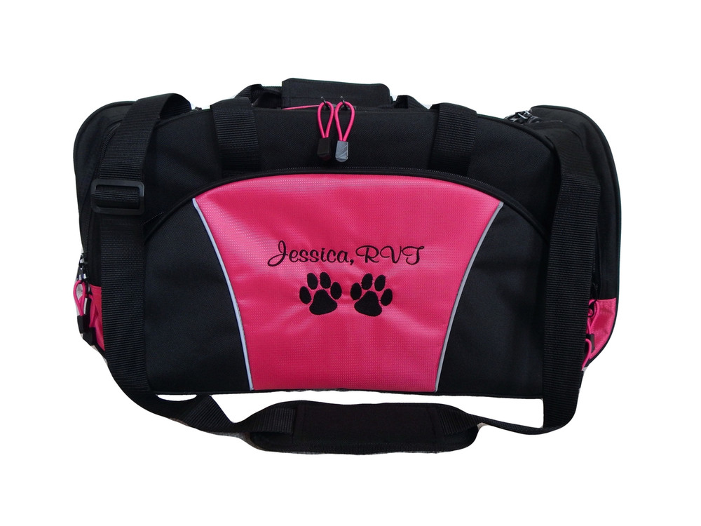 Paw Prints Vet Tech RVT Personalized Embroidered HOT PINK DUFFEL Font Style CASUAL SCRIPT