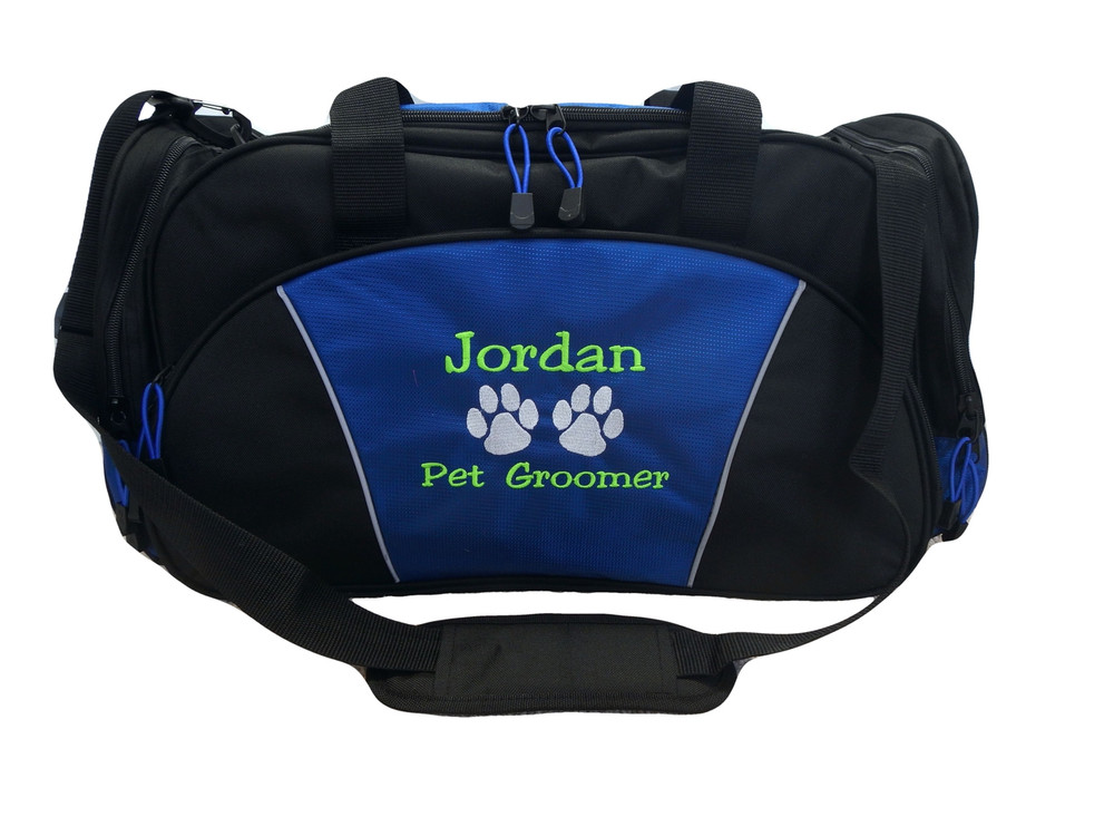 Paw Prints Pet Groomer Personalized Embroidered ROYAL BLUE DUFFEL Font Style JESTER