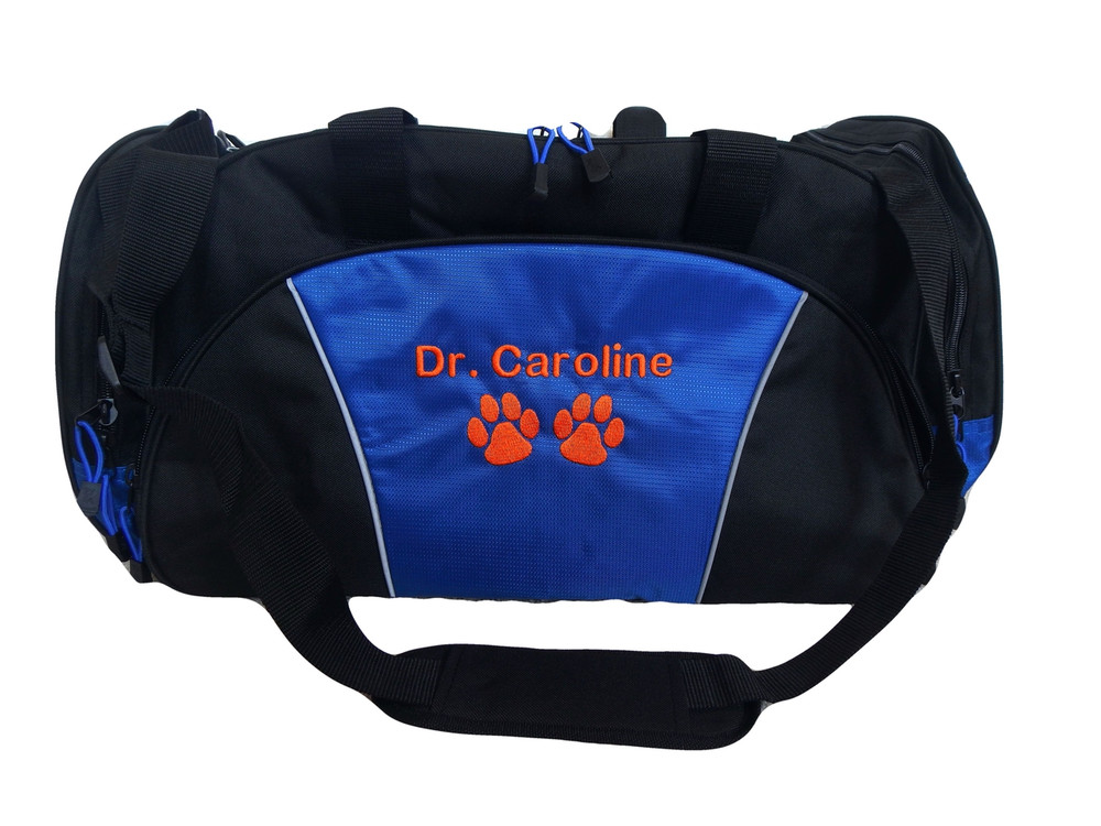 Paw Prints Vet Tech Personalized Embroidered ROYAL BLUE DUFFEL Font Style ROUNDED BLOCK