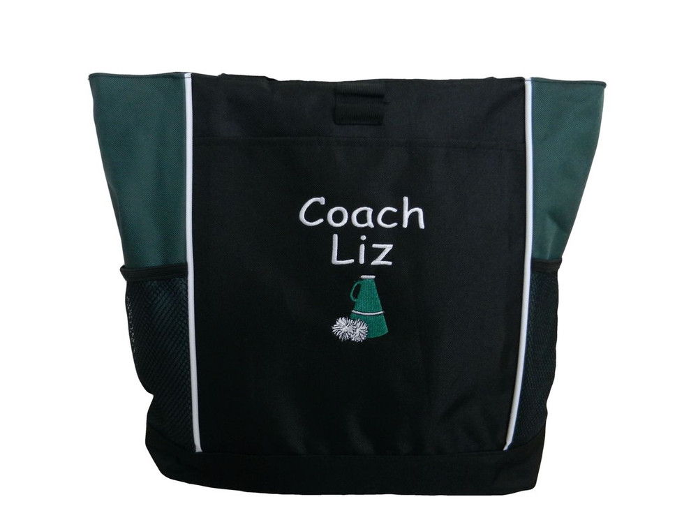 Cheer Poms Cheerleader Personalized Embroidered HUNTER GREEN Zippered Tote Bag Font Style COMIC SANS