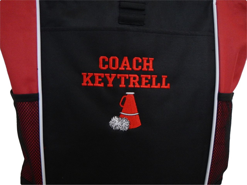 Cheer Poms Cheerleader Personalized Embroidered RED Zippered Tote Bag Font Style VARSITY