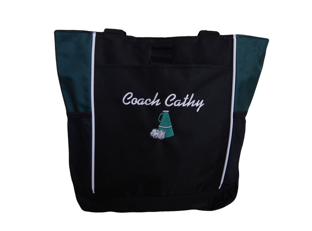 Cheer Poms Cheerleader Personalized Embroidered HUNTER GREEN Zippered Tote Bag Font Style ISLAND