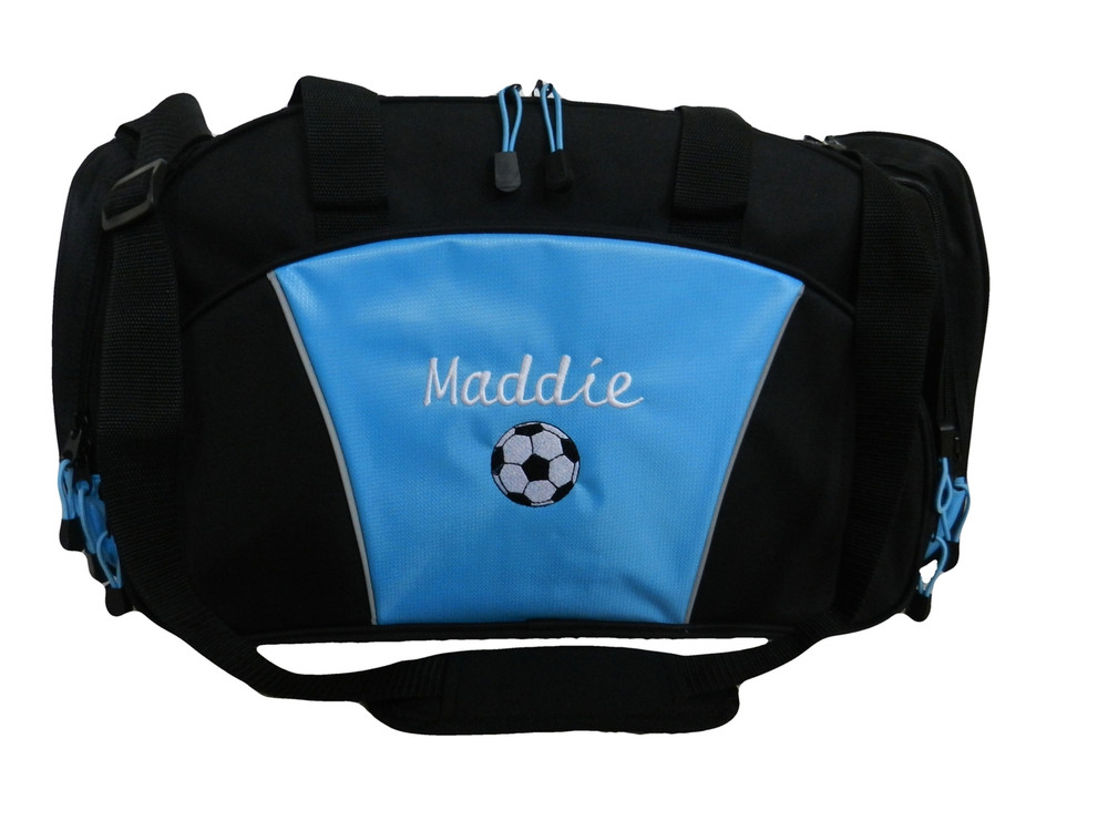 Soccer Ball Coach Mom Team Personalized Embroidered LIGHT BLUE DUFFEL Font Style CURSIVE