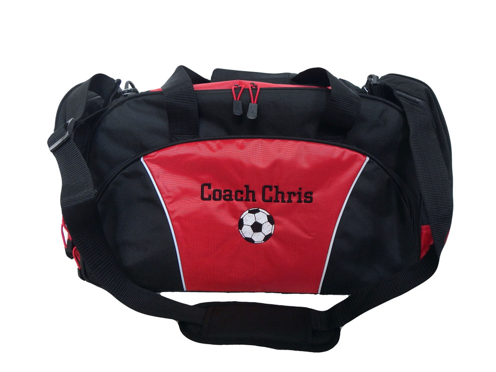 Soccer Ball Coach Mom Team Personalized Embroidered RED DUFFEL Font Style CHICAGO