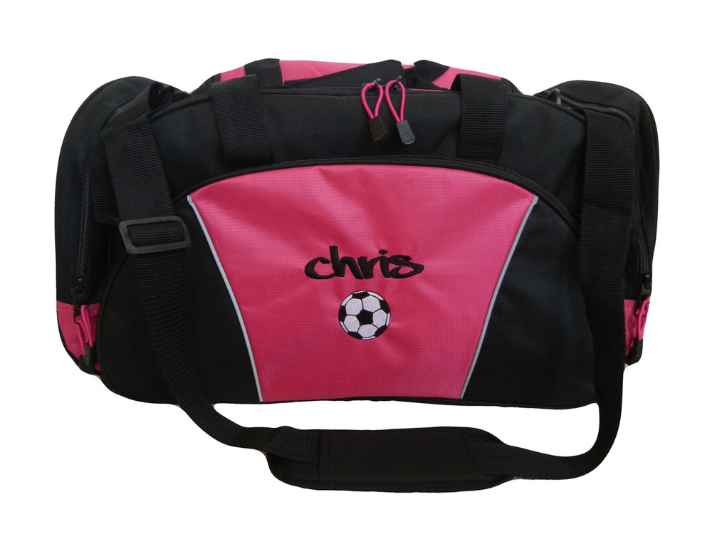 Soccer Ball Coach Mom Team Personalized Embroidered TROPICAL HOT PINK DUFFEL Font Style GRAFFITI