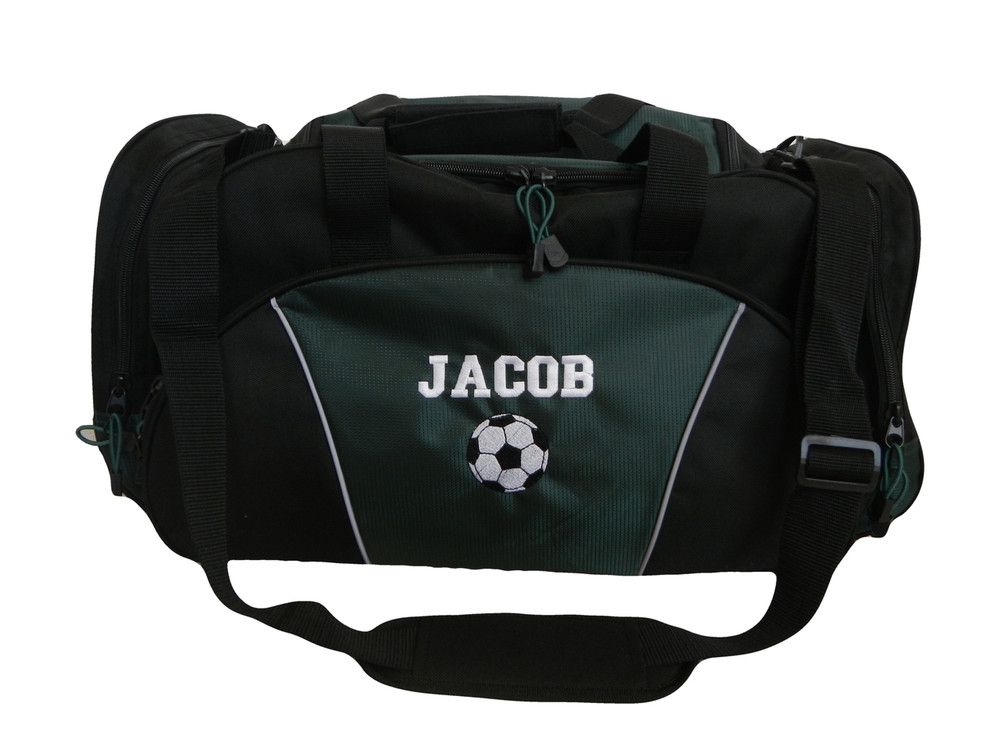 Soccer Ball Coach Mom Team Personalized Embroidered HUNTER GREEN DUFFEL Font Style VARSITY