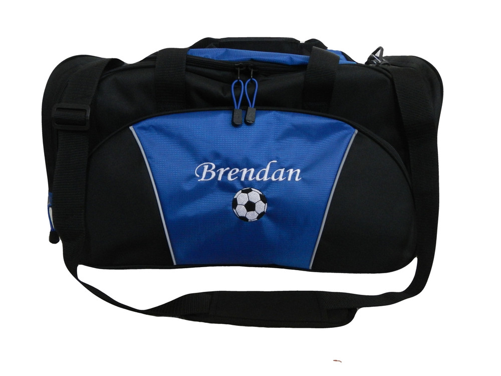 Soccer Ball Coach Mom Team Personalized Embroidered ROYAL BLUE DUFFEL Font Style MONO CORSIVA