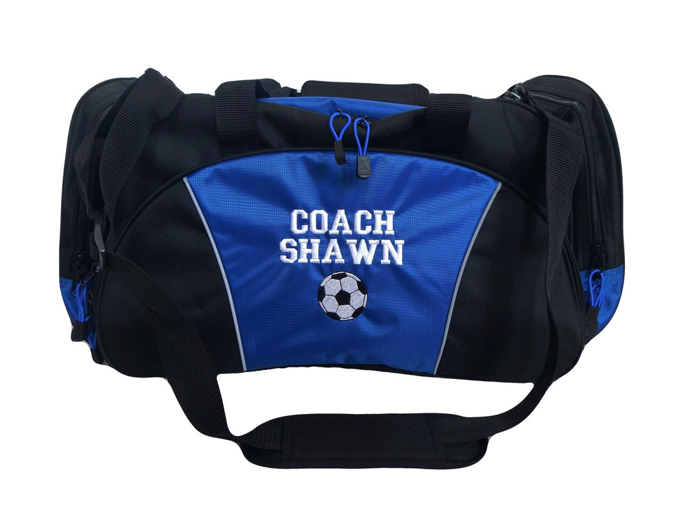 Soccer Ball Coach Mom Team Personalized Embroidered ROYAL BLUE DUFFEL Font Style VARSITY