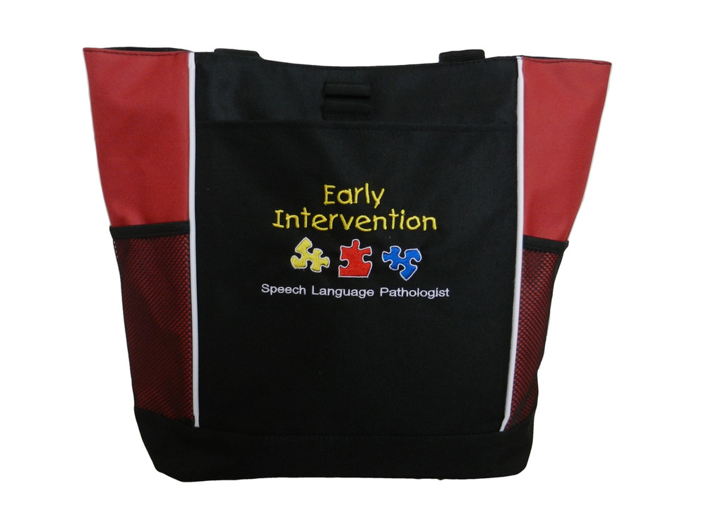Speech Language Pathologist SLP Autism Puzzles Personalized Embroidered Zippered RED Tote Bag Font Style CHILDS PLAY