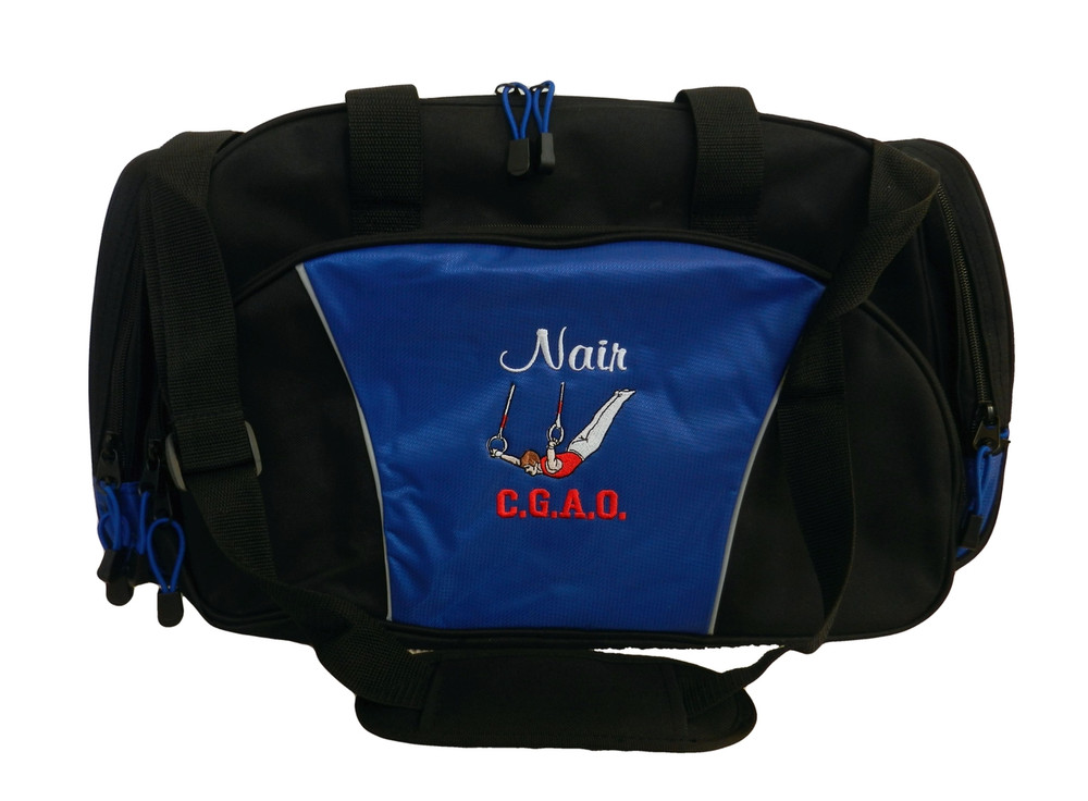 Male Gymnast Rings Gymnastics Personalized Embroidered ROYAL BLUE DUFFEL Font Style CASUAL SCRIPT