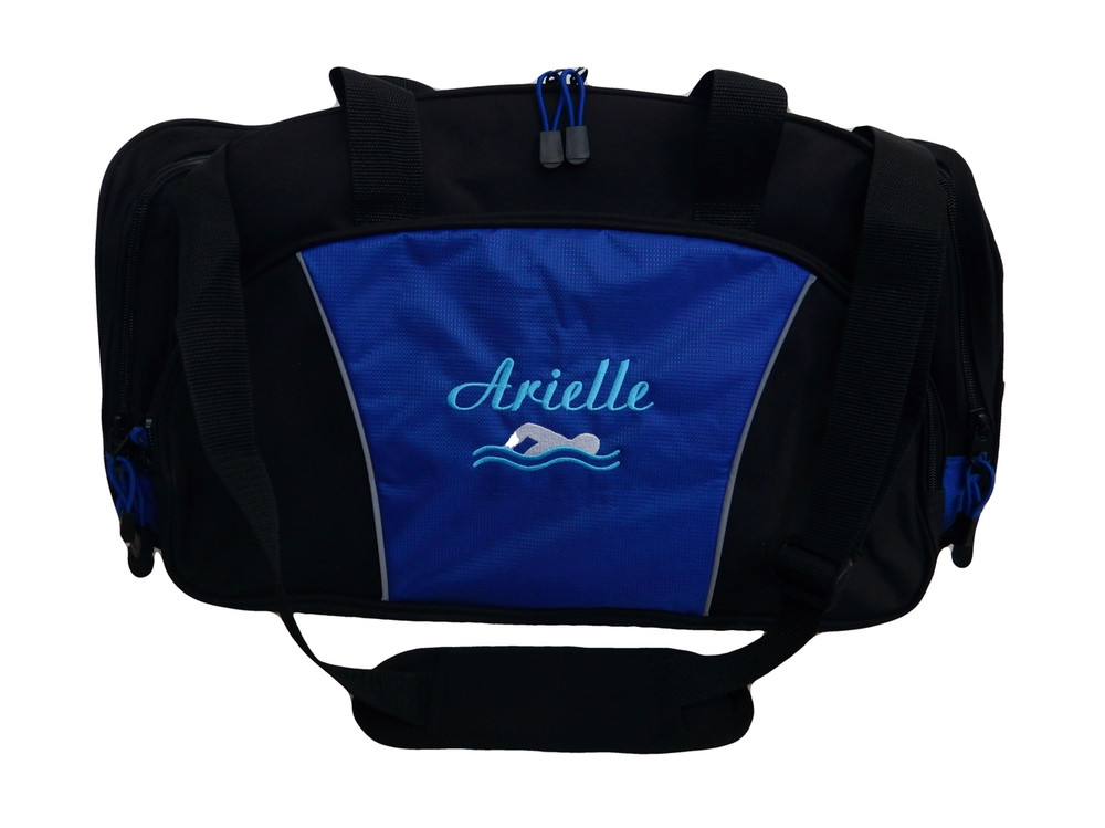Swimming Swimmer Icon Diving Under Water Sports Personalized Embroidered ROYAL BLUE DUFFEL Font Style LISA