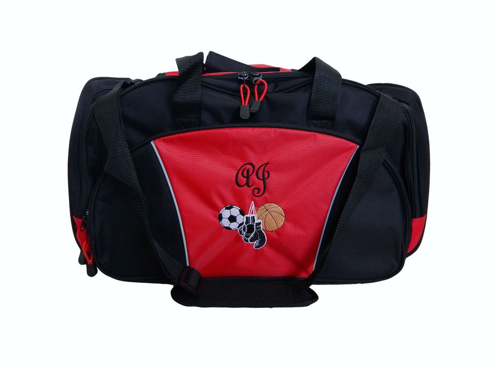 Boxing Martial Arts Kick Boxer Ultimate Fighting Sports Personalized Embroidered RED BLUE DUFFEL Font Style FRENCH SCRIPT