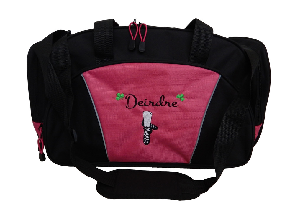 Ghillie Girl Shoes Celtic Shamrock Jig Irish Dance Personalized Embroidered HOT TROPICAL PINK Duffel Bag Font Style MONTE CARLO