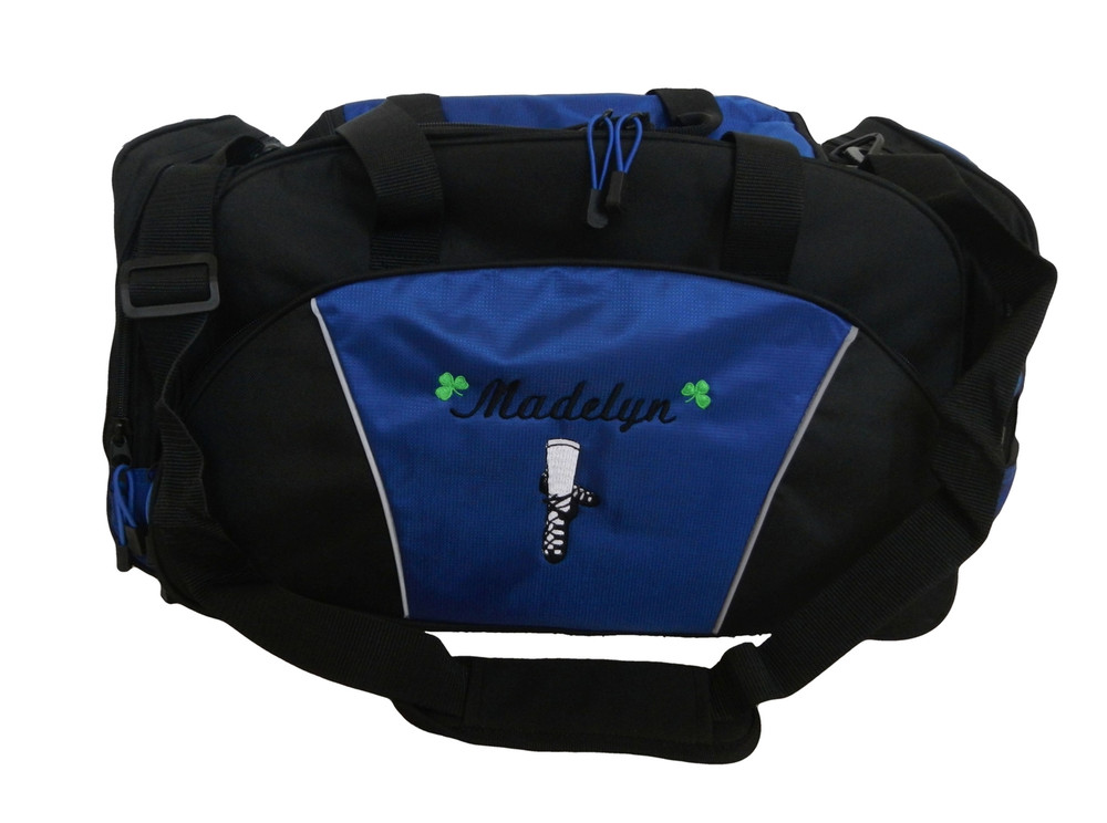 Ghillie Girl Shoes Celtic Shamrock Jig Irish Dance Personalized Embroidered ROYAL BLUE Duffel Bag Font Style LISA