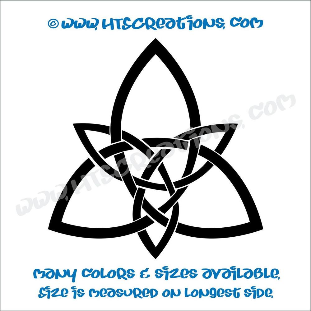 Celtic Trinity Knot Irish Dance Ireland Religious Church Triangle Solid Vinyl Decal BLACK